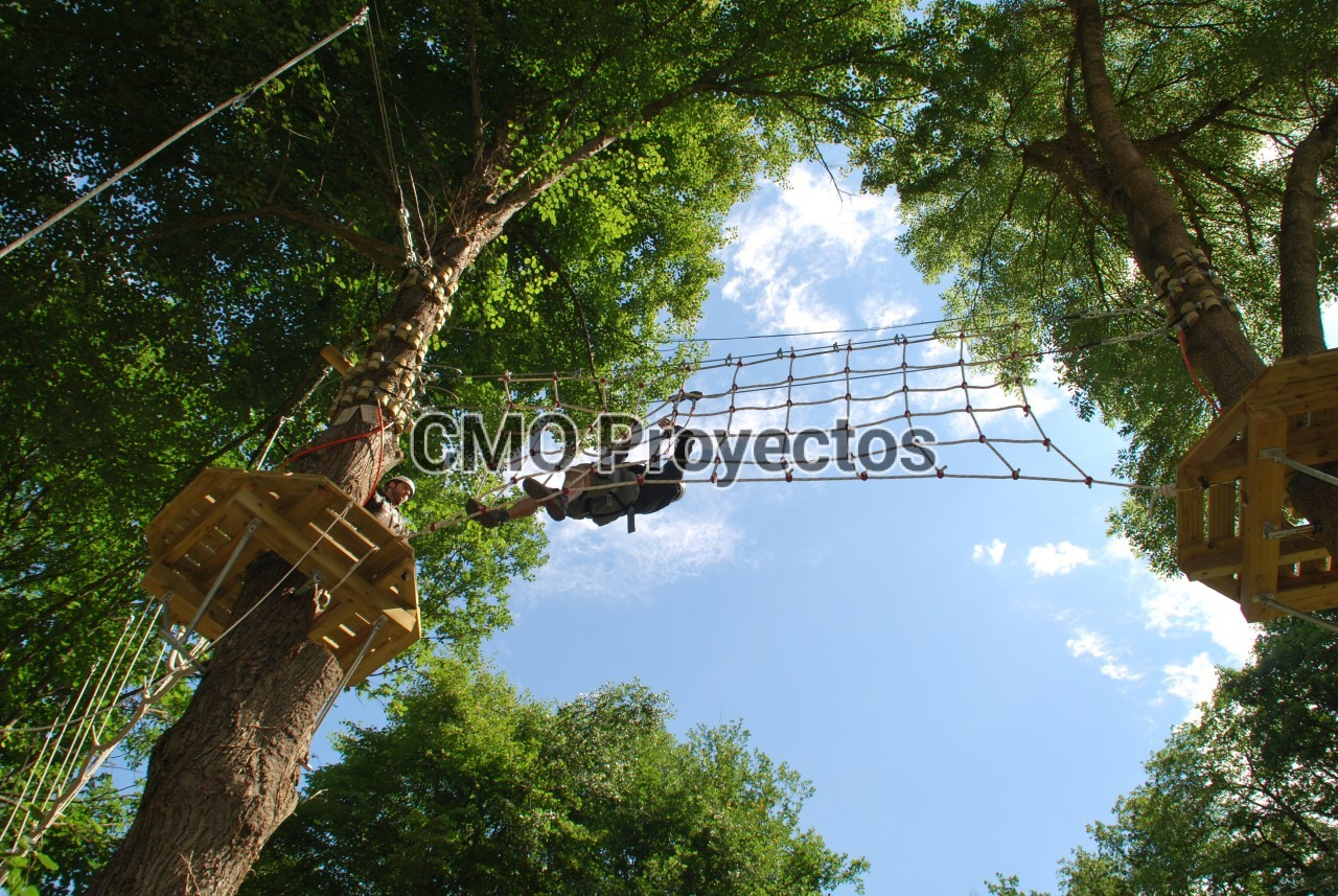 Courses on trees with bolt system en Parque Multiaventura CMO Proyectos